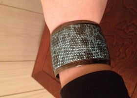 Faux reptile print blue bracelet! Adjusts!