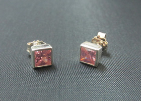 Pink CZ Princess cut Stud Earrings