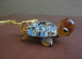 Turtle glass pendant