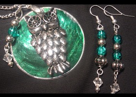 Teal Owl Necklace and Earring set ** Bidding bonus matching Bracelet!**