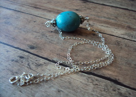 HANDMADE, smooth huge turquoise nugget on sterling silver chain