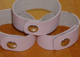 3 Upcycled Baby Pink Leather Cuff Bracelets