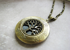 Tree of life LOCKET necklace bronze fancy long chain