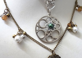 2 Necklaces Flower and Brass Filigree