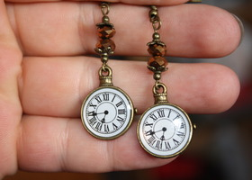 Time For Some Fun! Pocket Watch Charm & Gold Crystal Bead Earrings Bronze