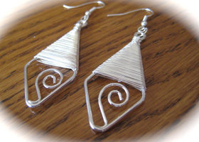 Wire Wrapped Swirl Earrings