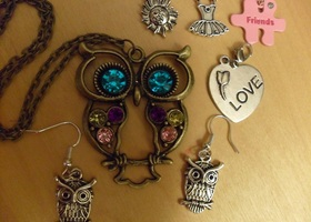 1$ New Owl Necklace, Earrings, + Charms