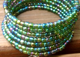 Only $3 Peacock Glass Seed Bead Layered Wrap Bracelet