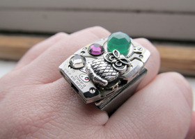Green Onyx Owl Steampunk Ring