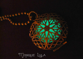 Green Glow in the Dark Antiqued Brass Filigree Locket