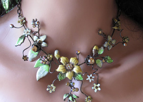Flower Power Enamel & Crystal rhinestone Necklace and Earring Set