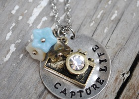 """Capture Life"" - Hand Stamped Camera Photography Necklace"