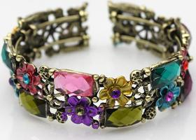 Floral Rhinestone Crystal Copper Bangle Cuff Bracelet