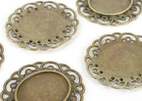 10 PC. Oval Antique Bronze Brass Tone Filigree Tray Cabochon Settings by Cricket