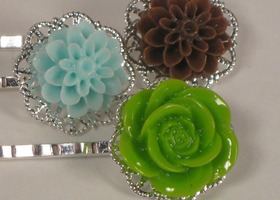 Earthy Colors Flower Bobby Pins Trio