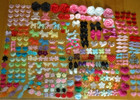 300 pcs Satin & Felt Embellishments GREAT for hair bows, clips & Scrapbooking