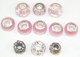 European Charm Beads- PINK + Bidding Bonus Tibetan Silver Animal Spacers