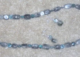 necklace and earrings blue green agate
