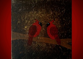 Original Cardinal Bird Painting 8x8 Joyful Art