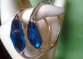 Royal Blue Gem Nickel Free Earrings