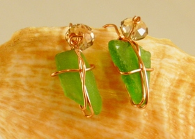 Emerald seaglass earrings