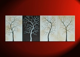 Large Luxurious Chocolate and Cream Tree Painting Four Canvases