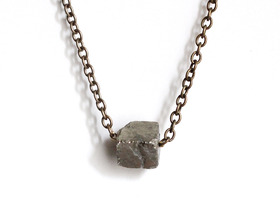 large pyrite cube necklace
