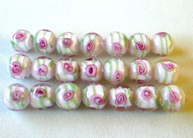 21 Pink and Green Lampwork Beads 12mm