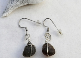 Amber seaglass earrings