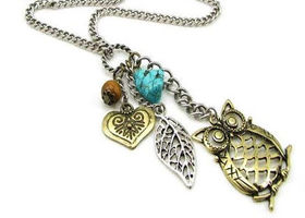 Owl Heart Leaf Necklace