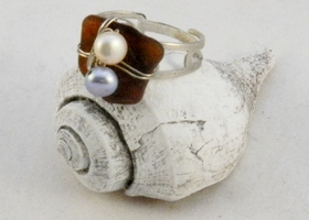 Amber Seaglass and Pearls Adjustable Ring