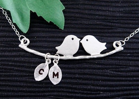 KIssing Lovebirds On A Branch Silver Necklace