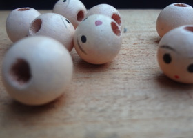 8 Vintage Wood Beads with Face