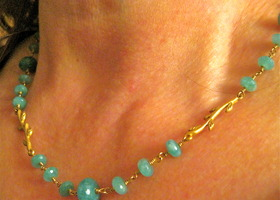 Blue Amazonite Wire Wrapped Necklace