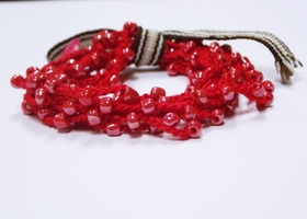 Love is sweet Red Crochet bracelet / necklace