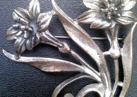 Signed Sterling by JewelArt Flower Pin