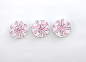 Pink Flower Magnets Set of 3