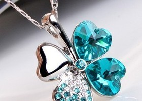 Amazing Four Leaf Clover Crystal  Necklace