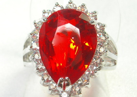 Huge Created Orange Sapphire Ring 18k White Gold Plated