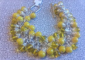 Yellow Czech Glass Cluster Bracelet