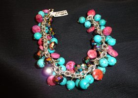 Turquoise, Pink Crazy Agate and Faceted Crystal Cluster Bracelet