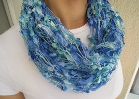 Lot of 2 Handmade Scarves: Aqua and Royal Purple