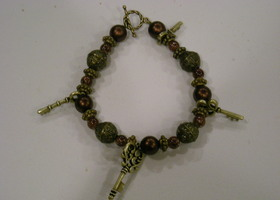 Beautiful Handmade Golden Keys With Burgundy and Bronze Beaded Bracelet!!!!