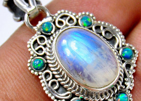 Rainbow Moonstone, Sterling Silver necklace pendant