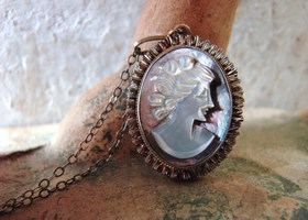 Antique 800 Silver Carved Mother of Pearl Cameo Pendant Necklace