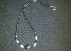 $1 START NICE HEMATITE SILVER AND DARK GRAY/ BLACK BEADED NECKLACE!!