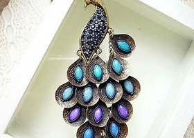 Antiqued Prancing Peacock Multi Sequin Long Necklace