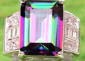 Breathtaking Huge Rainbow Mystic Topaz RIng Sterling Silver