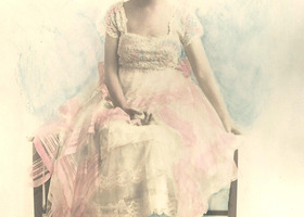 FIRST PROM antique portrait photo hand tinted pink lace dress watercolor appeal first prom