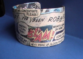 Comic Word Bubble Cuff - Repurposed Vintage Comics